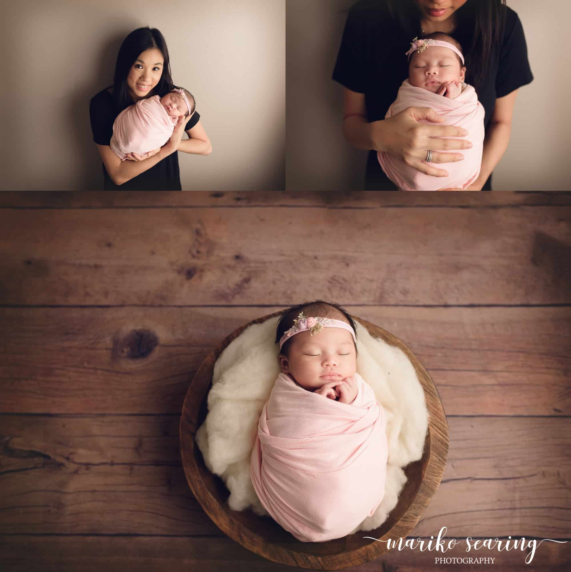 wrapped baby in bowl and in mother's arms by newborn photographer in Baton Rouge