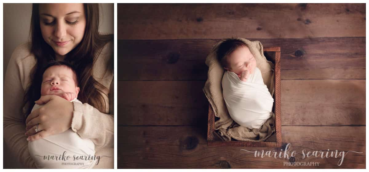 wrapped baby in mom's arm and in a crate by newborn photographer in Baton Rouge