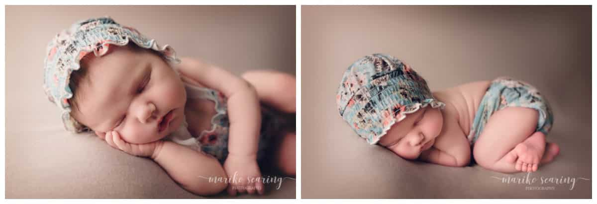 wrapped baby in floral romper and bonnet by Baton Rouge LA newborn photographer