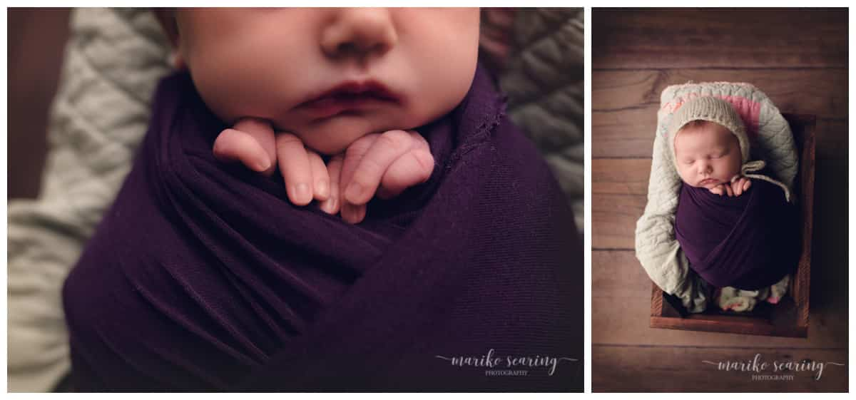 wrapped baby in purple by Baton Rouge LA newborn photographer