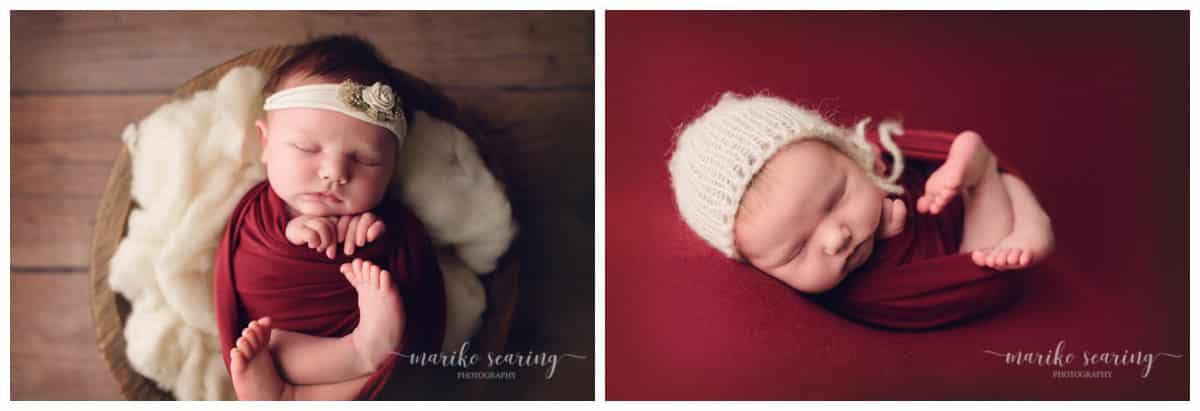 wrapped baby in red by Baton Rouge LA newborn photographer