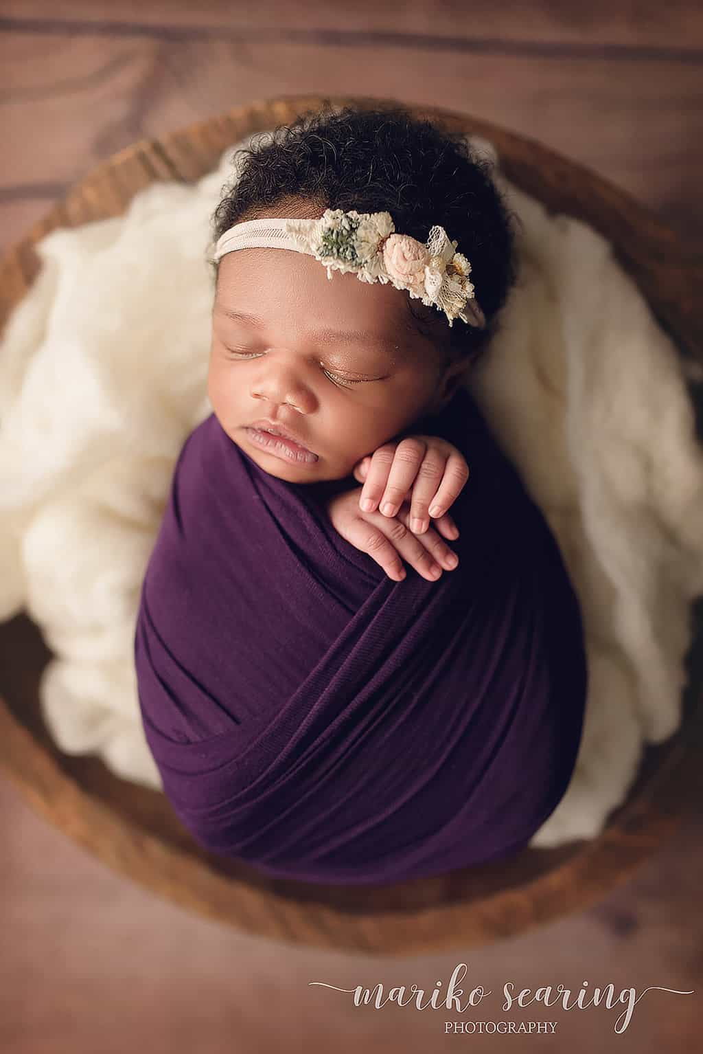 wrapped baby in bowl by Baton Rouge boutique newborn photographer