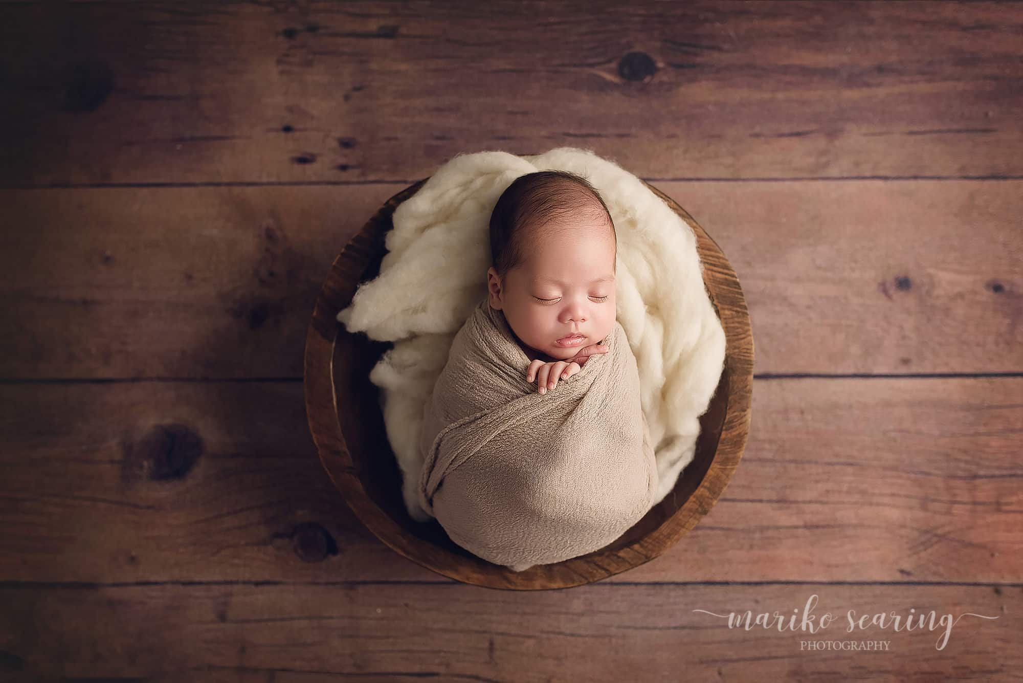 03052018 classic posed baton rouge newborn photographer tan wrapped sleeping baby in bowl