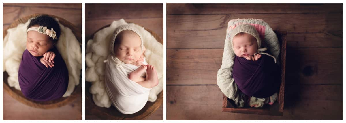 classic baton rouge baby photographer collage of wrapped babies