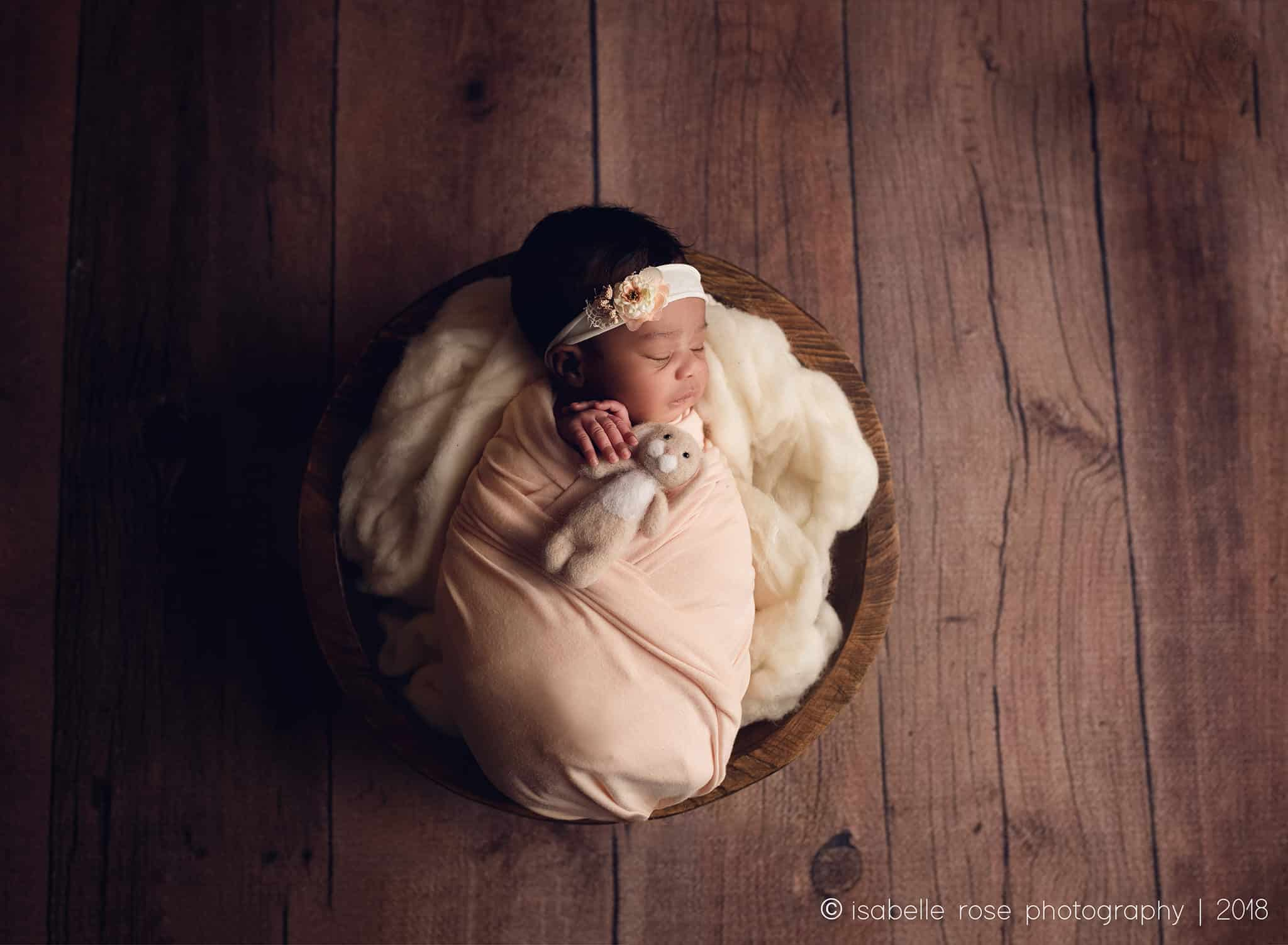 07172018 baton rouge la infant photographer wrapped baby in bowl with bunny