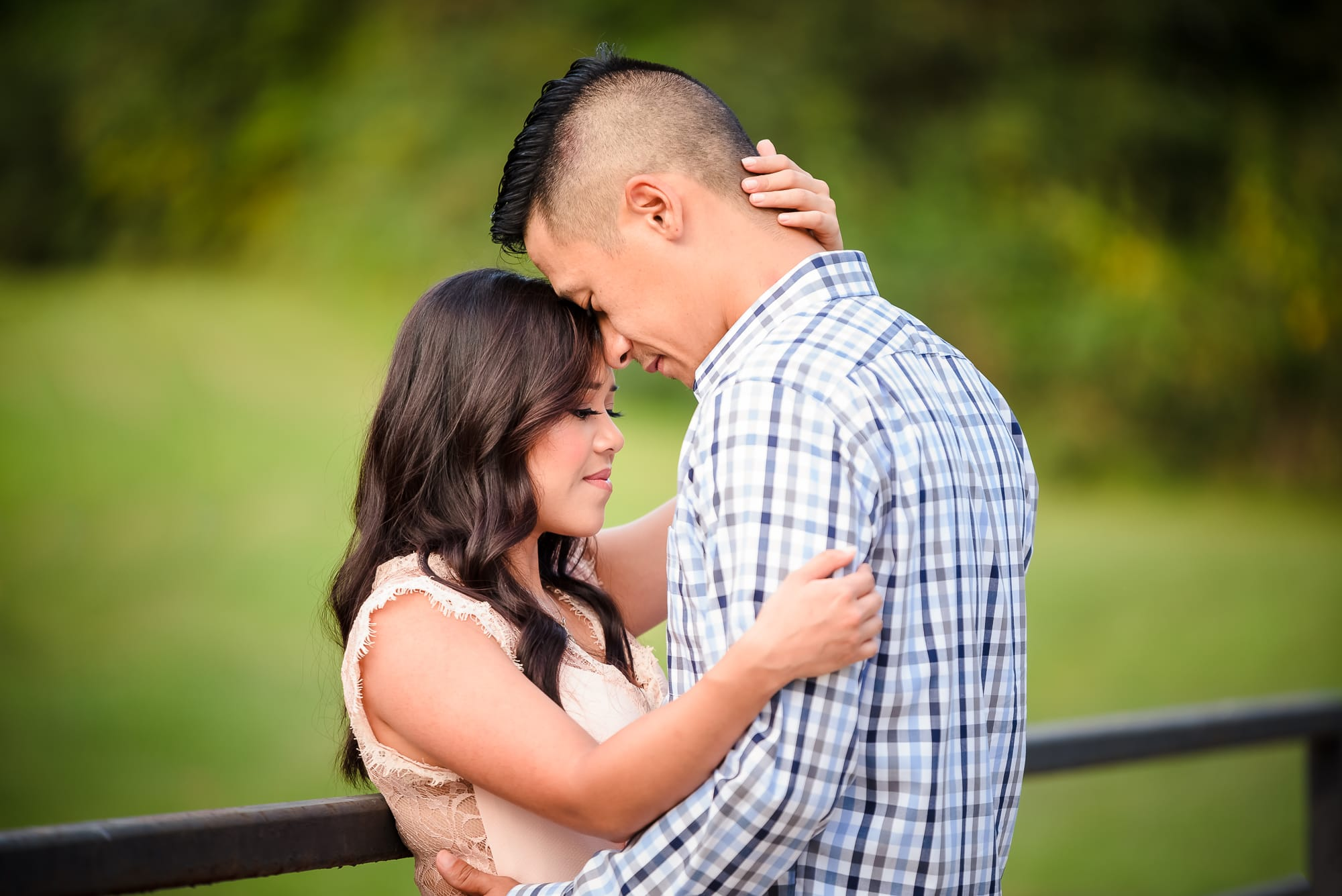 Outdoor Baton Rouge Engagement Session couple posing