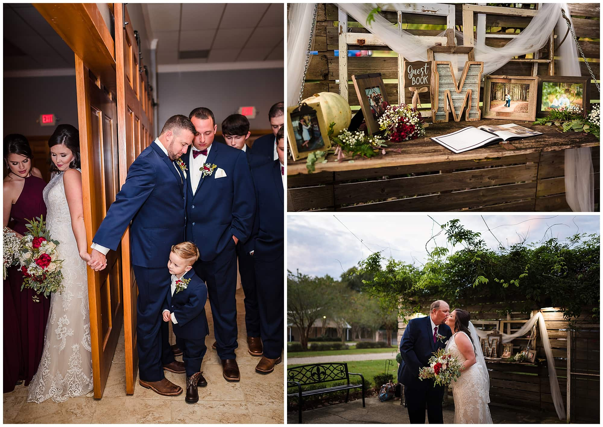 couple praying and father of the bride at Ashley Manor Baton Rouge wedding venue