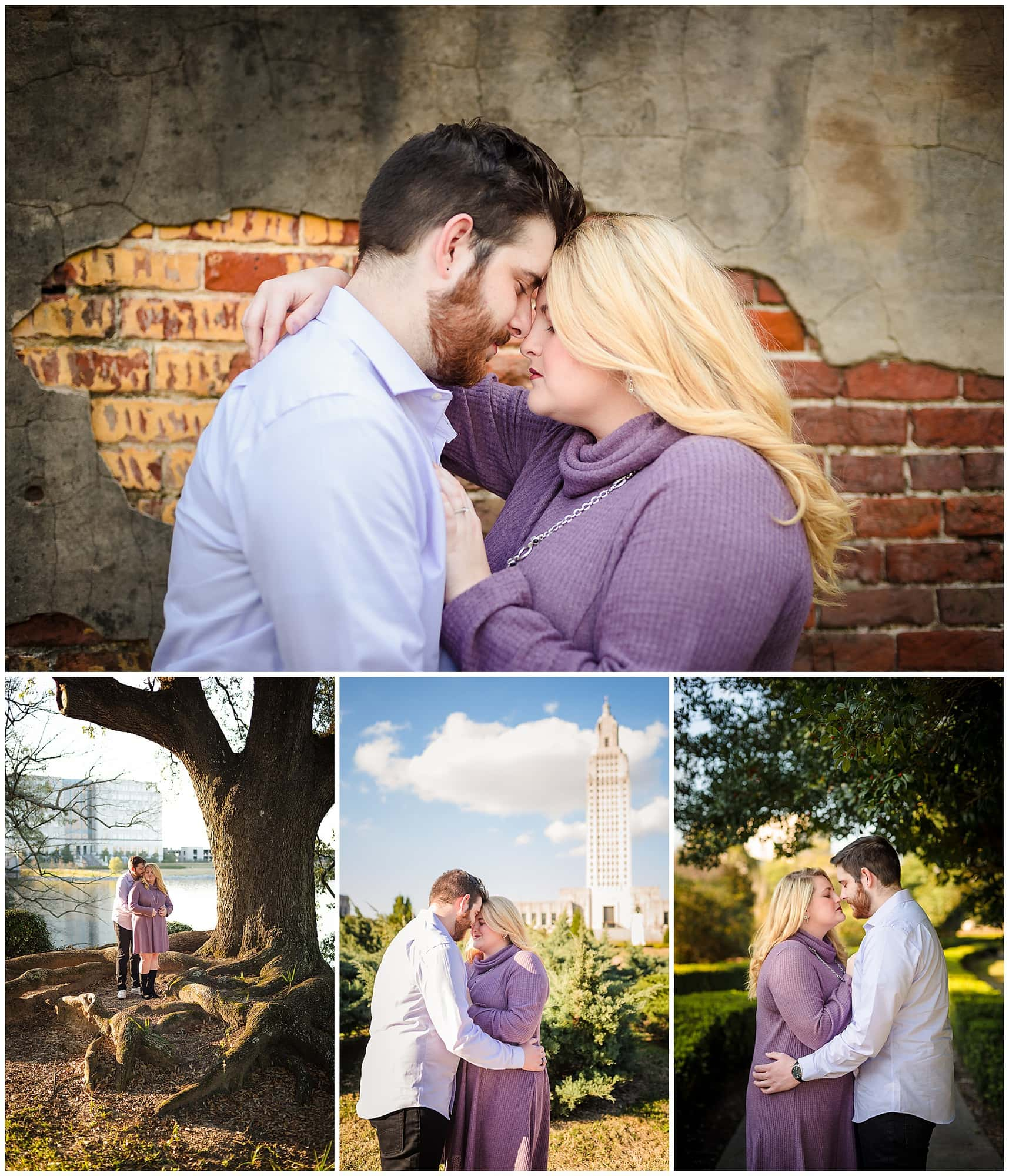 engaged couple posing in downtown Baton Rouge
