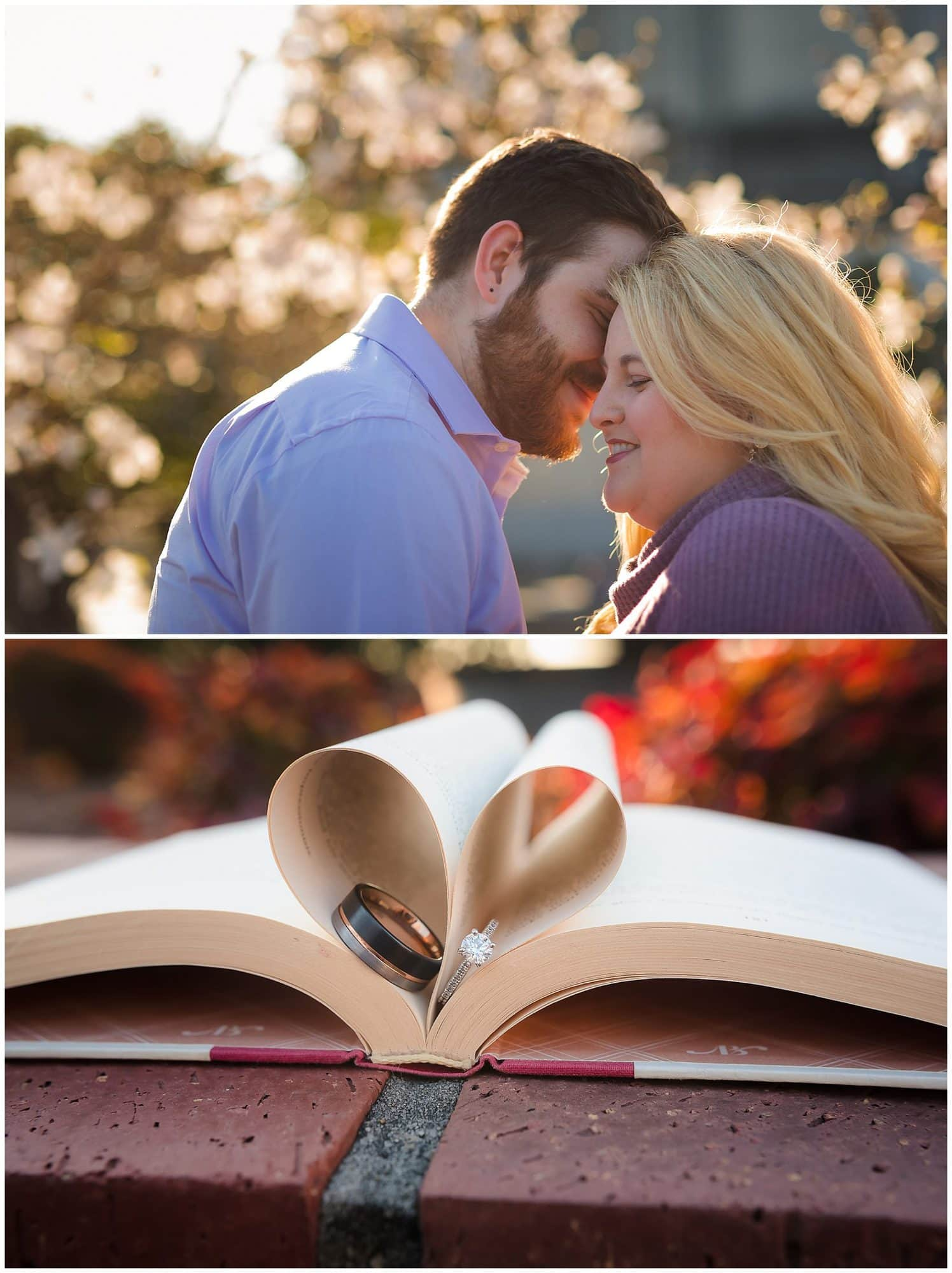 Couple nuzzling and rings in a book