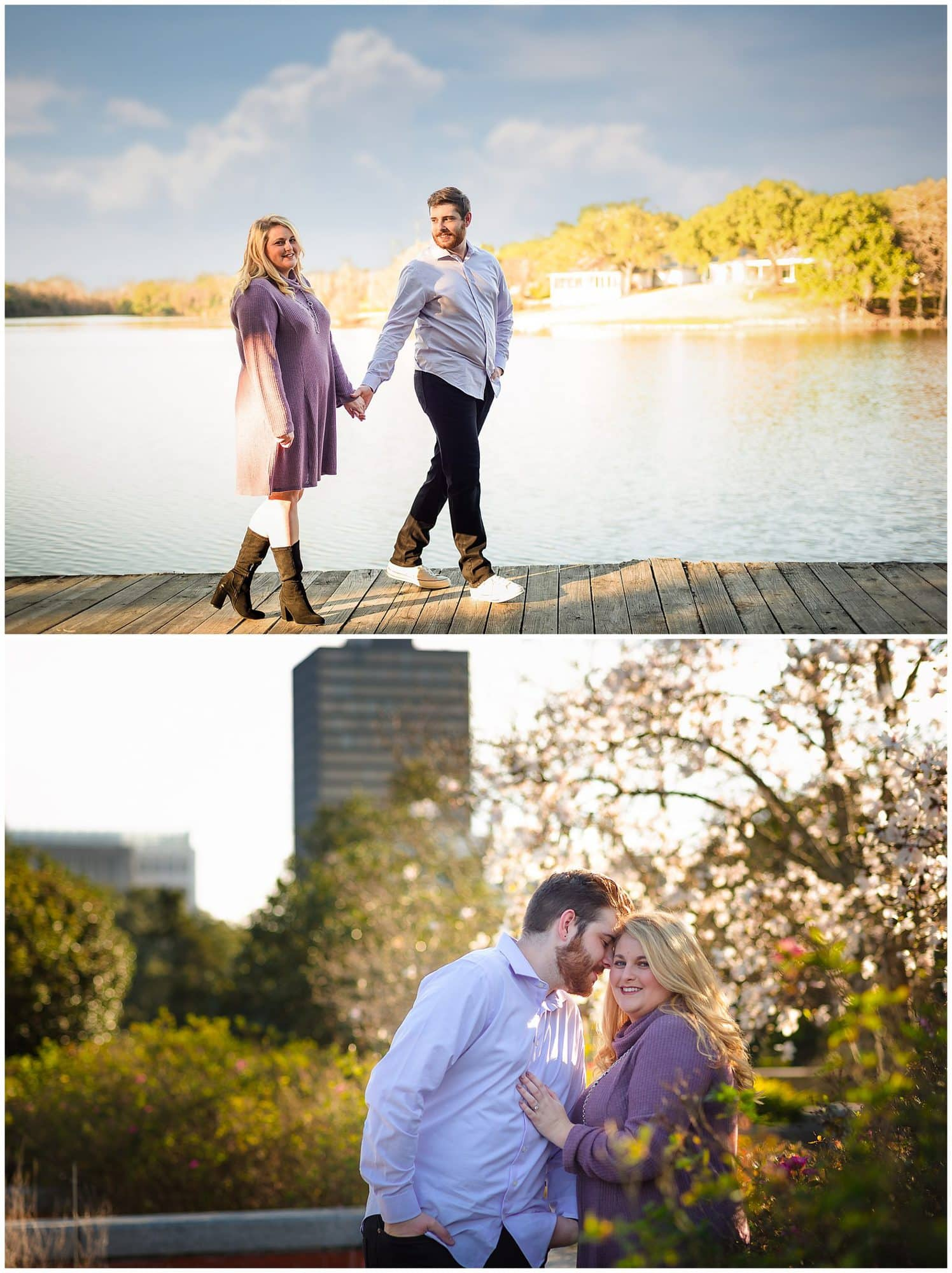 couple posing with flowers and walking on a bridge in downtown baton rouge