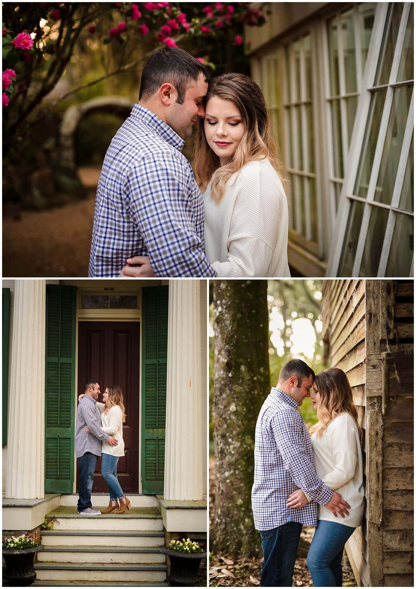 Couple nuzzling in rosedown plantation