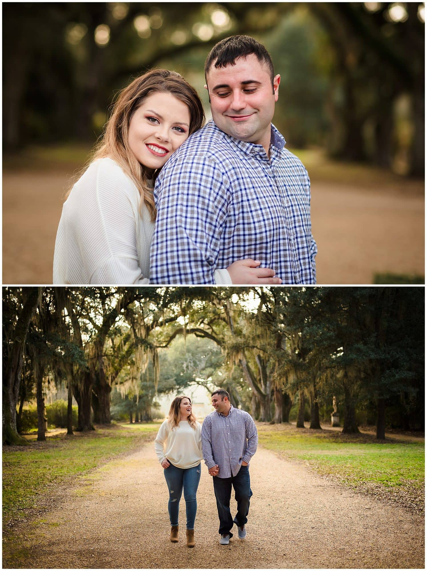 Couple posing and walking in rosedown plantation