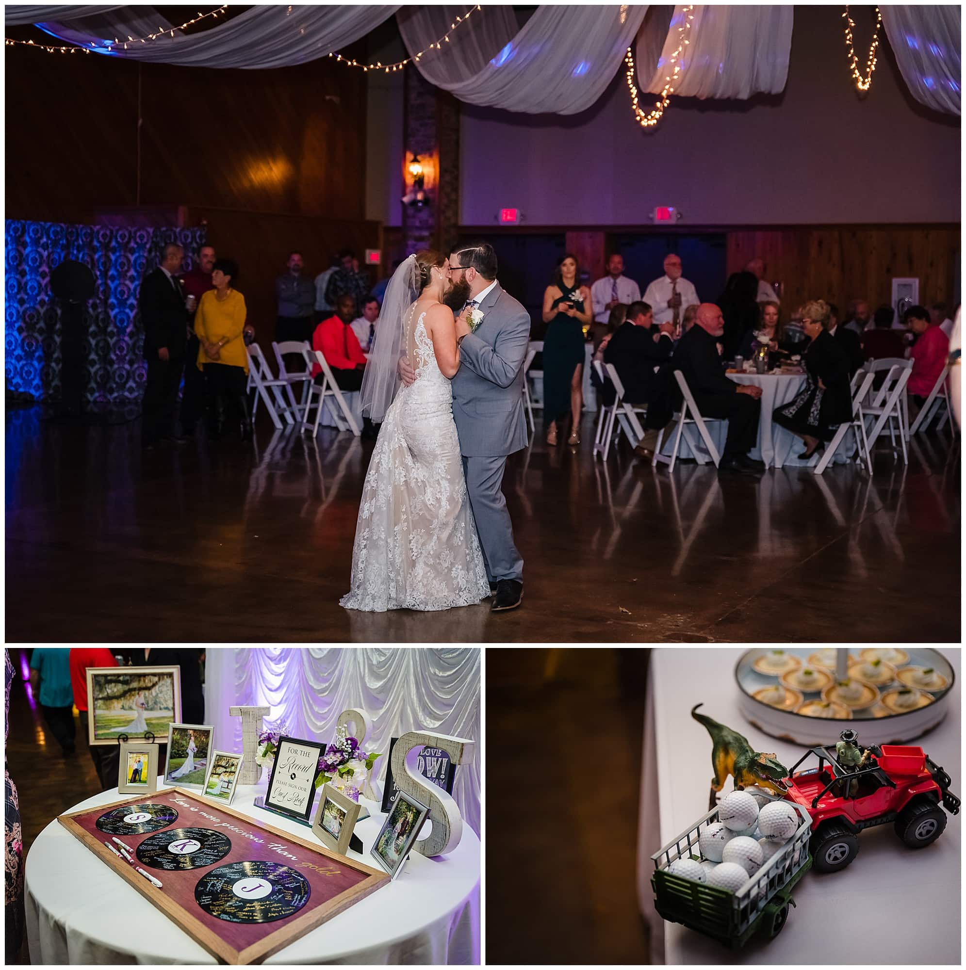 wedding couple first dance and reception details