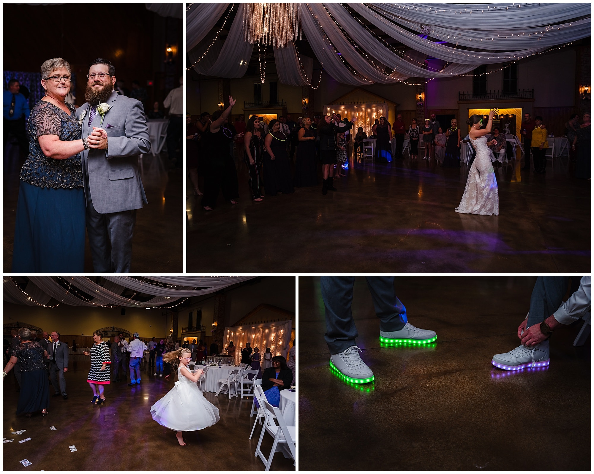collage of reception with dancing and bouquet toss