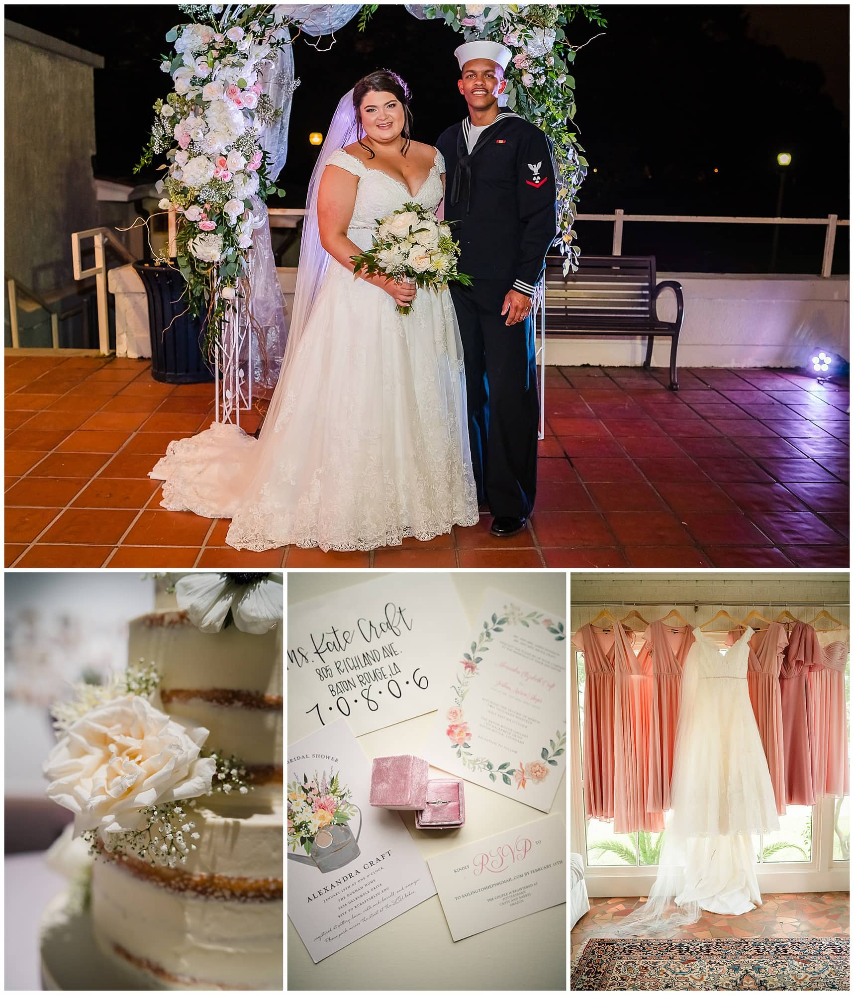 collage of couple posing and wedding details at Baton Rouge gallery venue