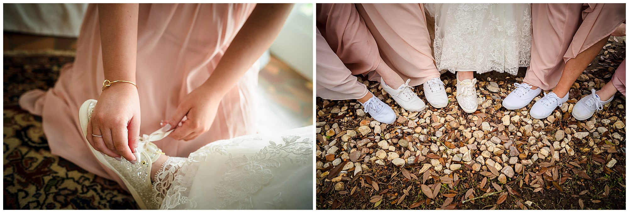 collage of sparkly kate spade keds wedding shoes