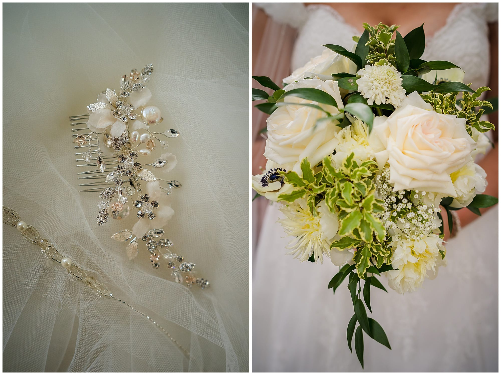 bridal bouquet and veil detail
