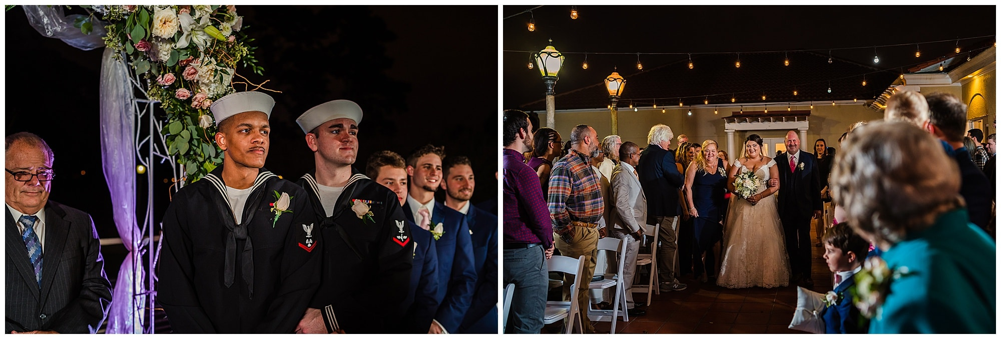 groom watching bride walk down aisle at Baton Rouge gallery wedding venue