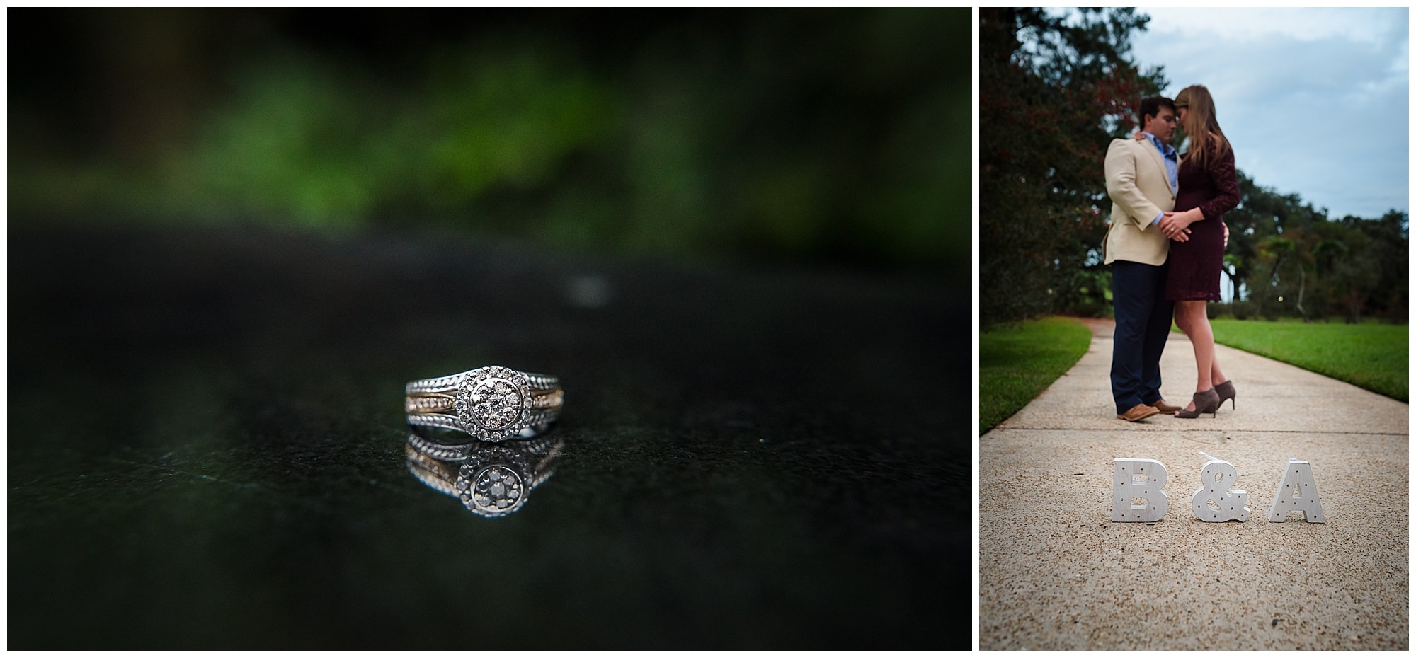 engagement ring and couple in Arsenal Park baton Rouge