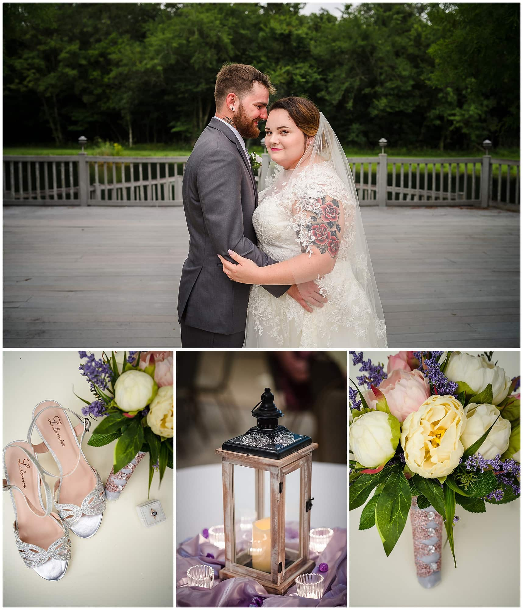 couple posing and wedding details at Cypress Columns Louisiana wedding venue