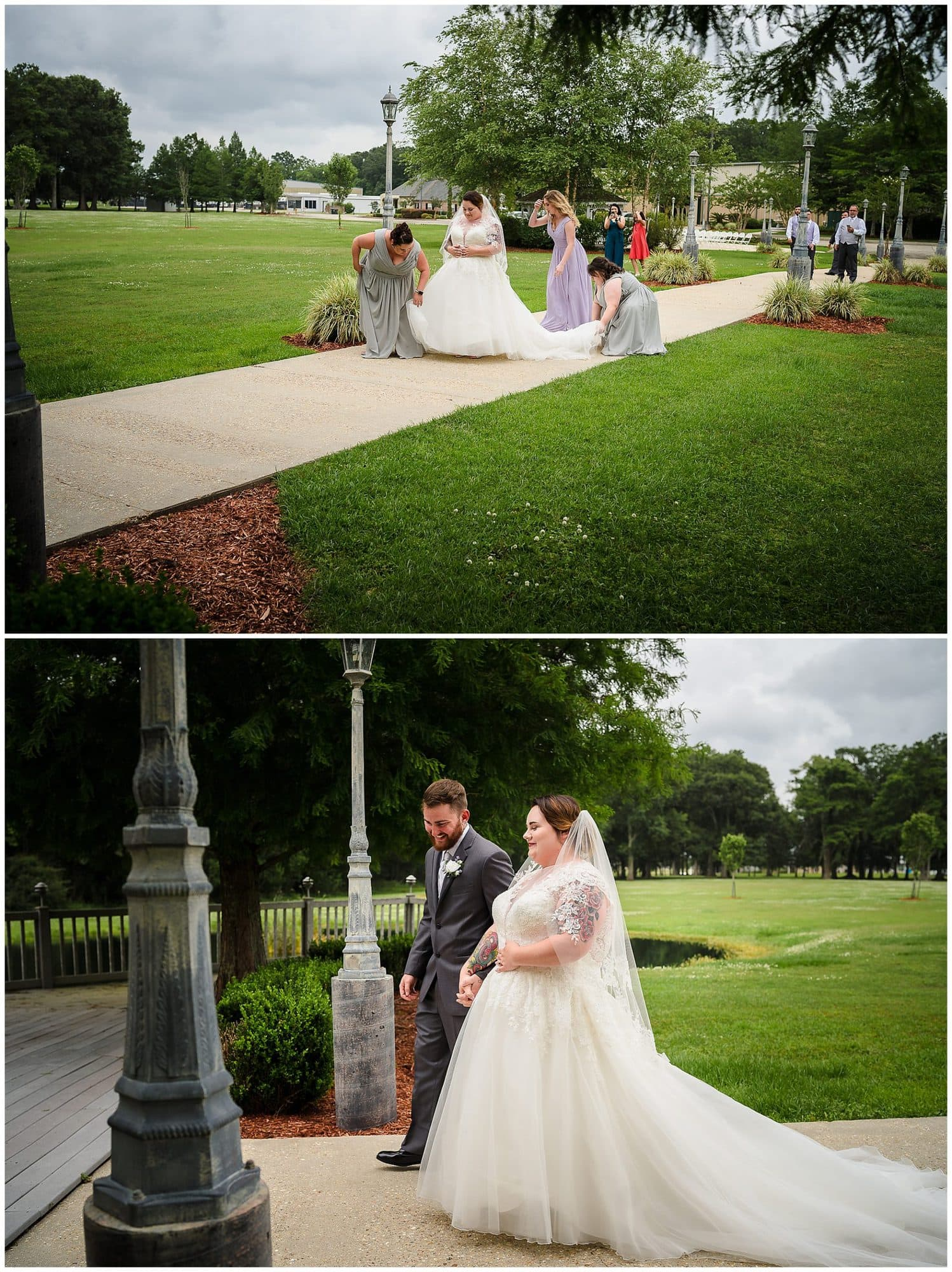 bride and groom first look at at Cypress Columns Louisiana wedding venue