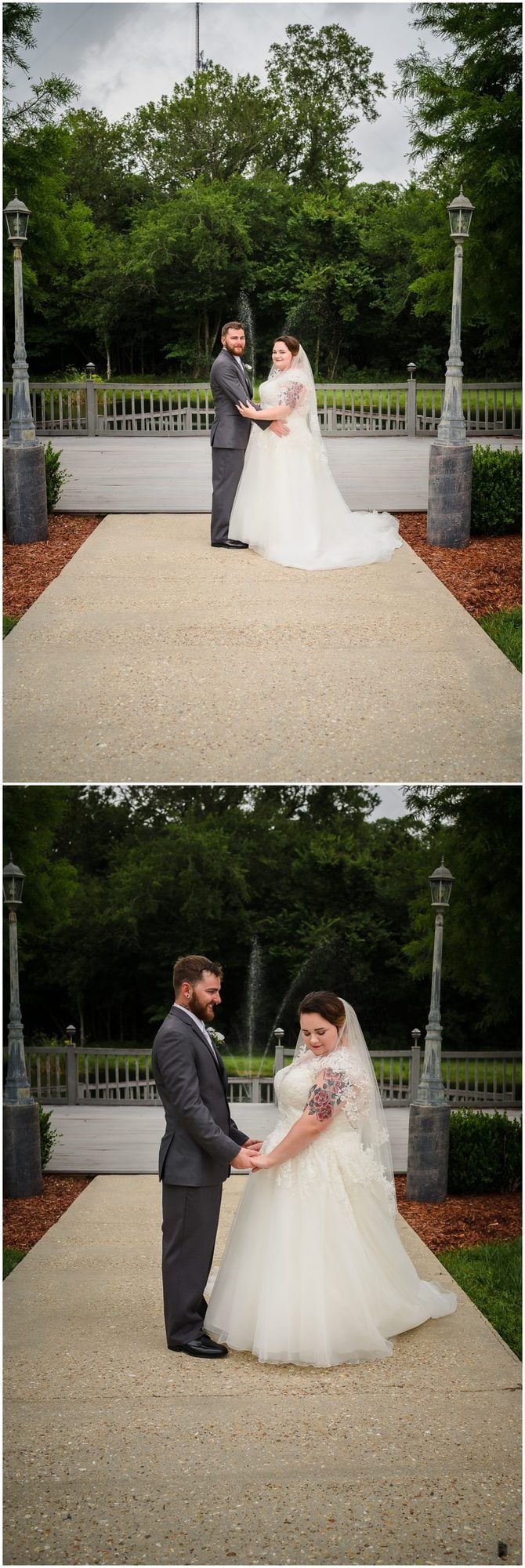 wedding couple posing at Cypress Columns Louisiana wedding venue