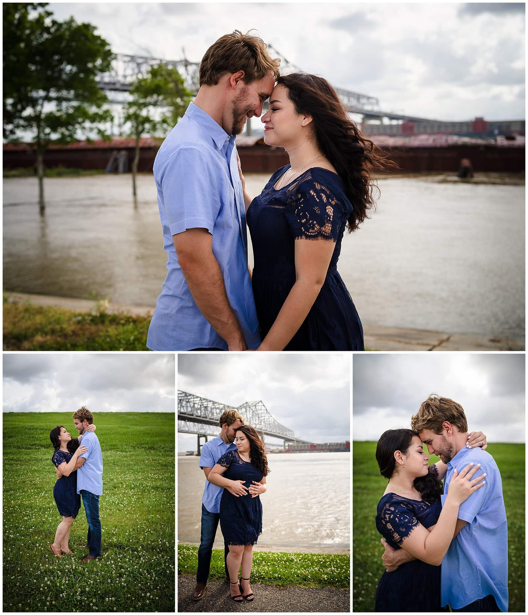couple posing at waterfront in downtown New Orleans