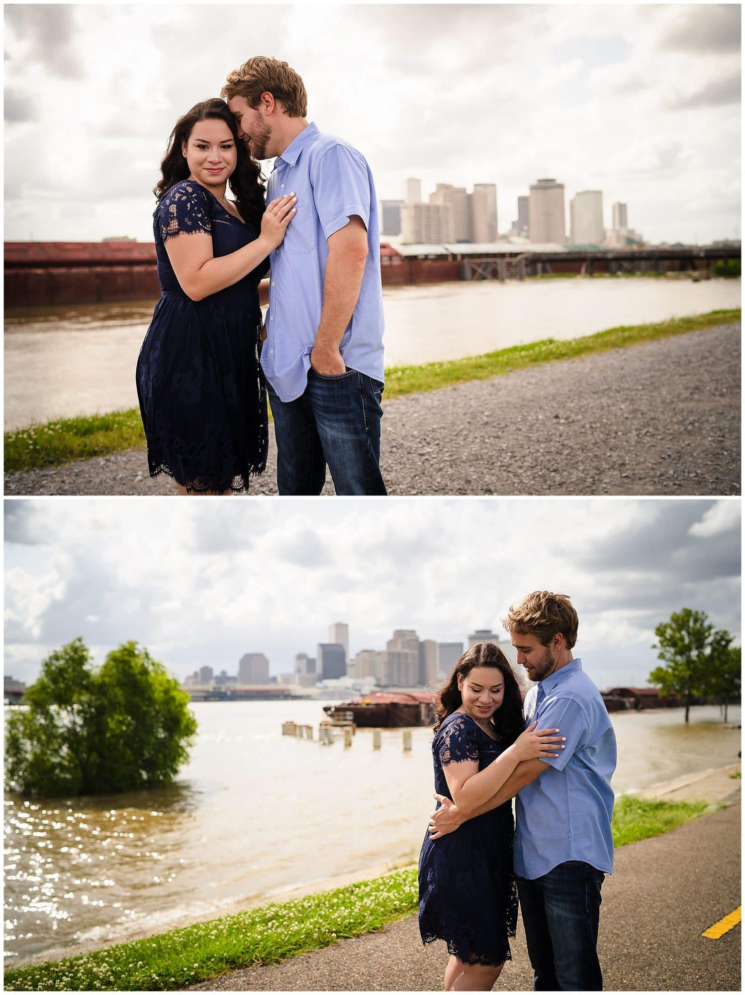 couple posing in front of cityl skyline in downtown New Orleans