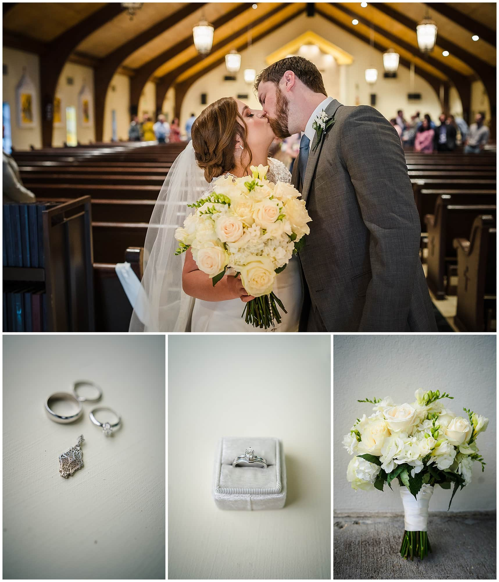 couple kissing in a church and wedding details