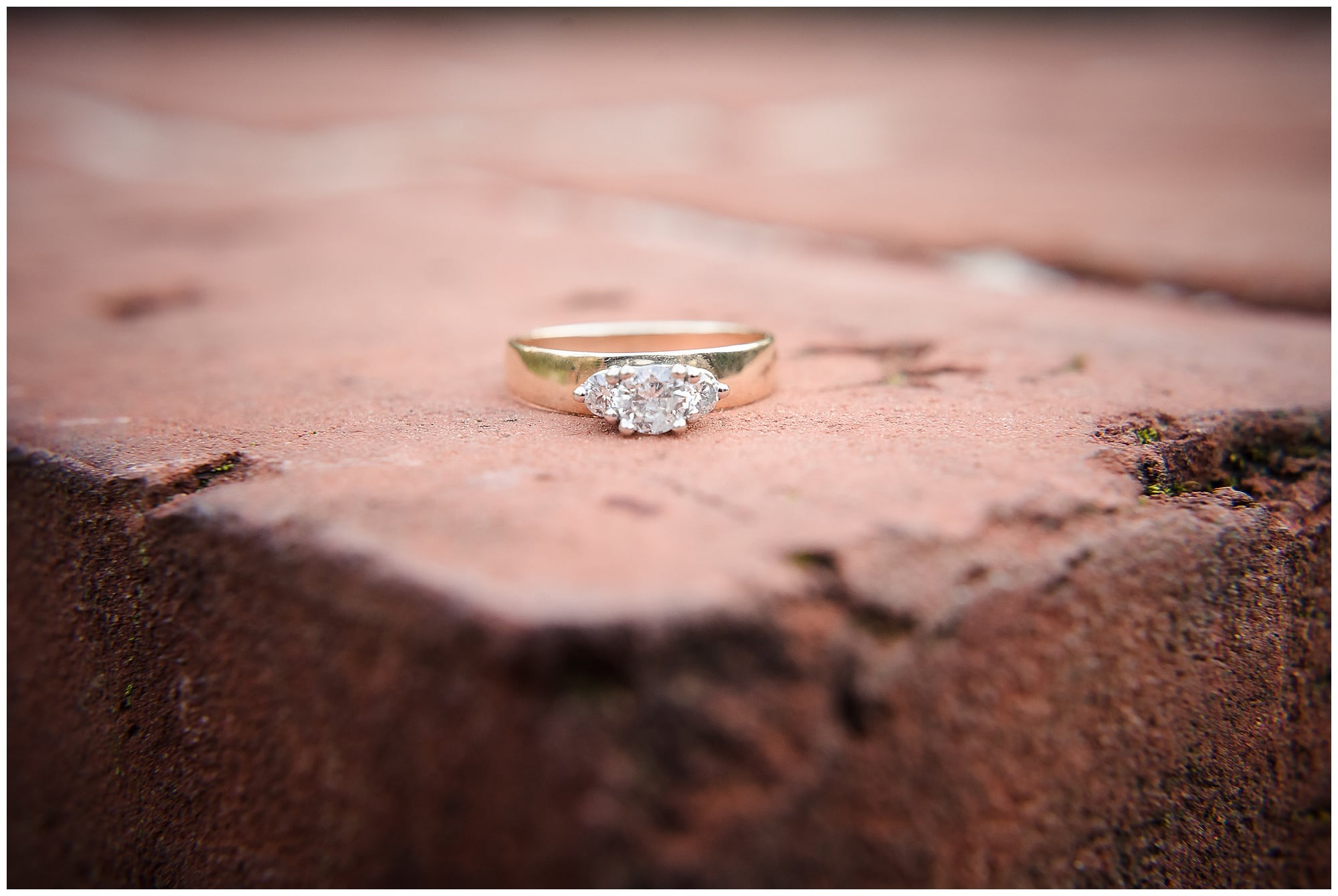engagement ring on brick n Fontainebleau State Park