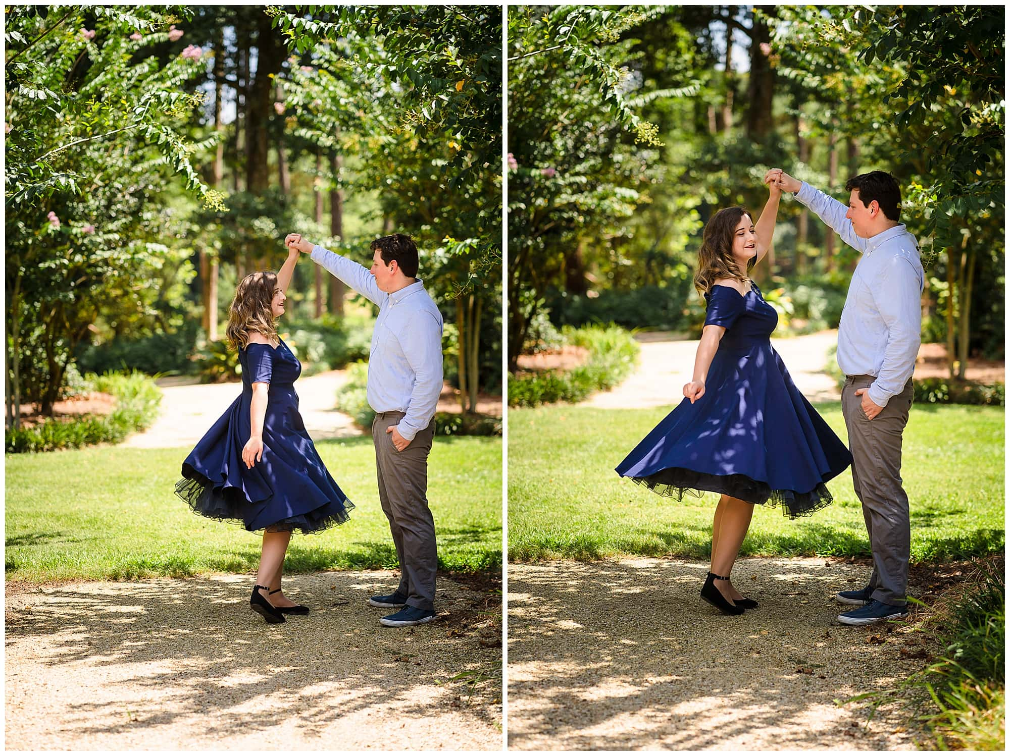 couple twirling at Windrush Gardens