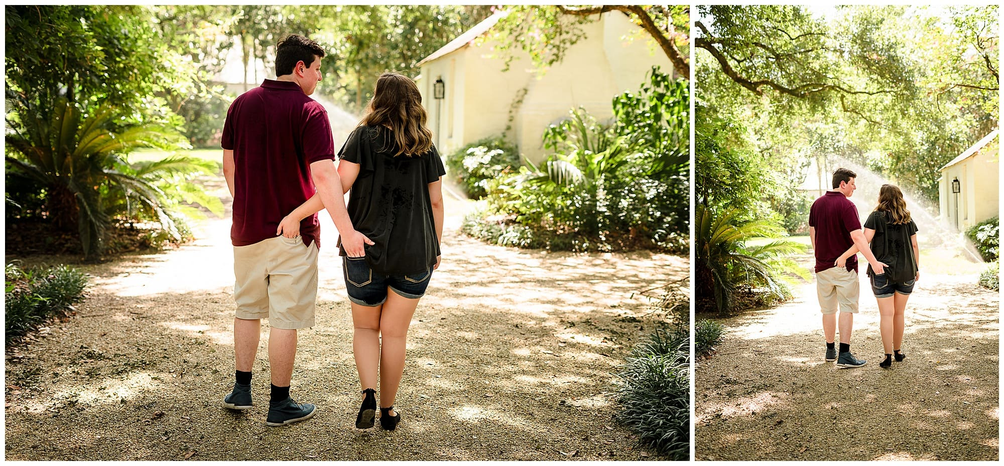 Couple waking with hands in back pockets at Windrush Gardens