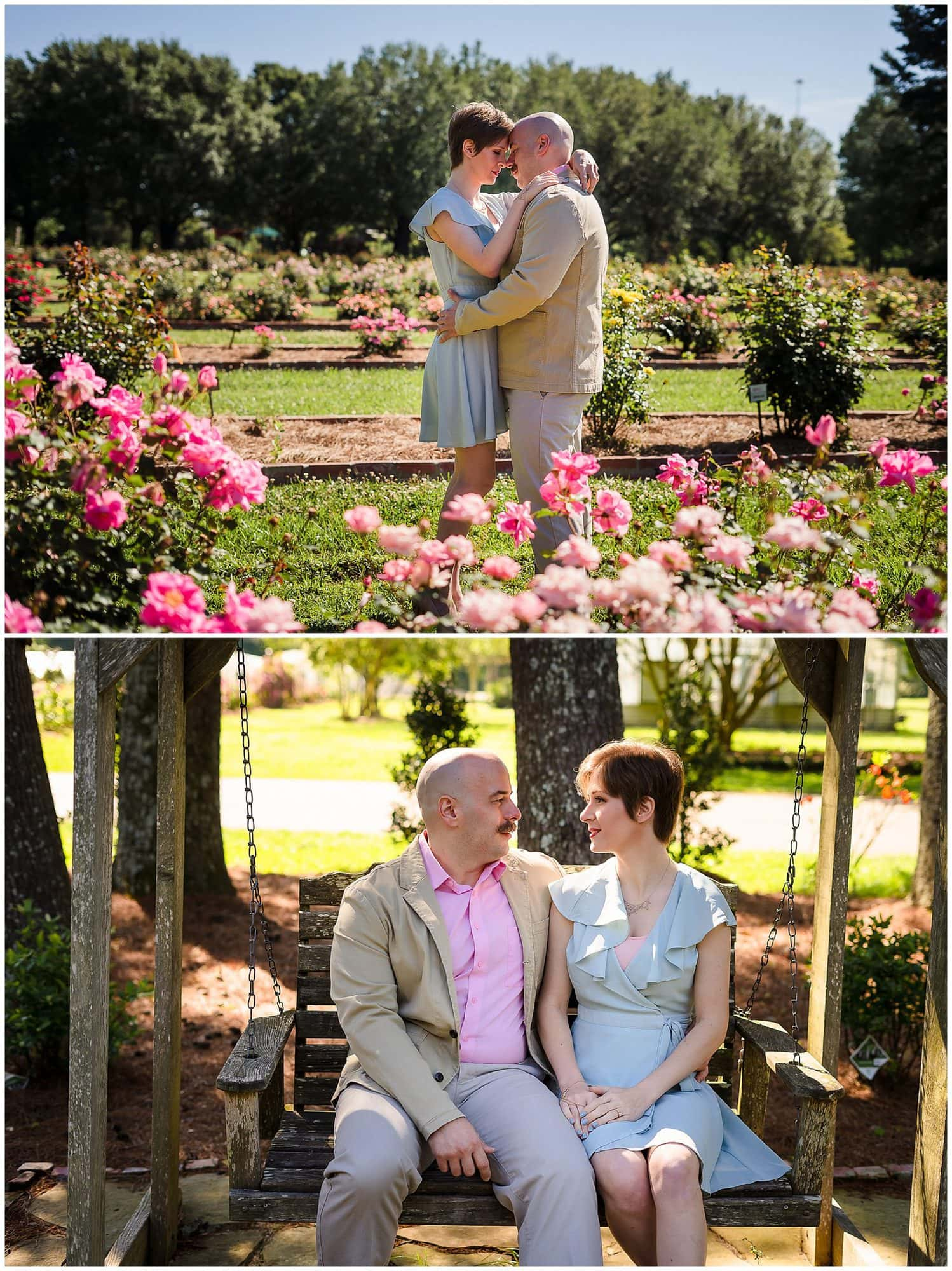 couple standing with flower and sitting on a bench at LSU Botanic Gardens