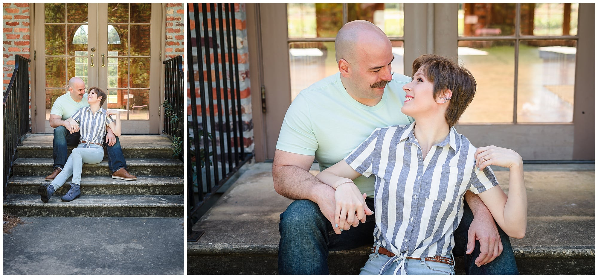couple sitting on stairs together at LSU Botanic Gardens