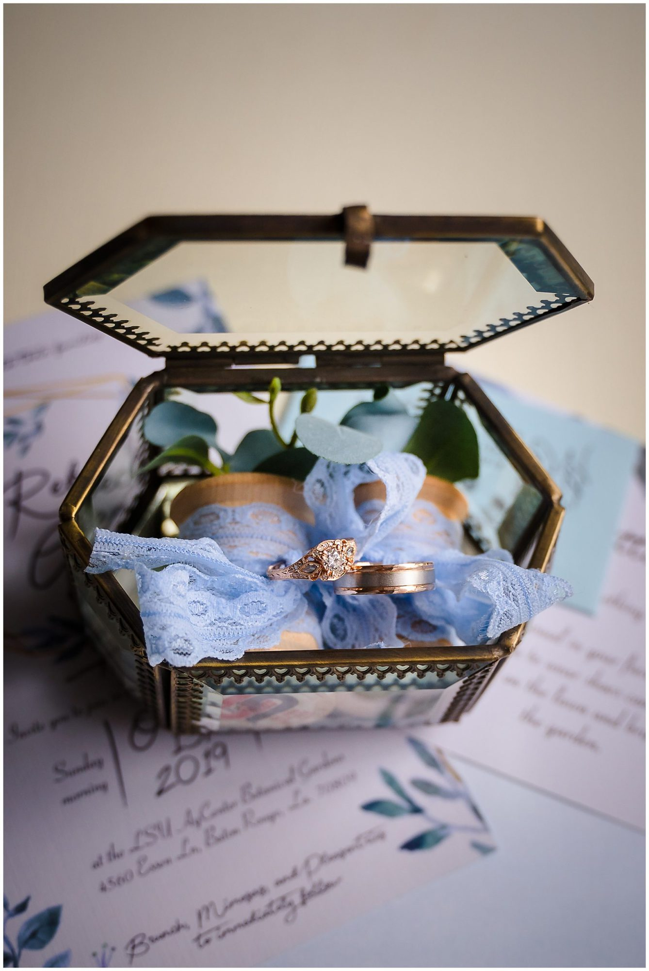 ring in glass box and inviations Orangerie wedding in Baton Rouge