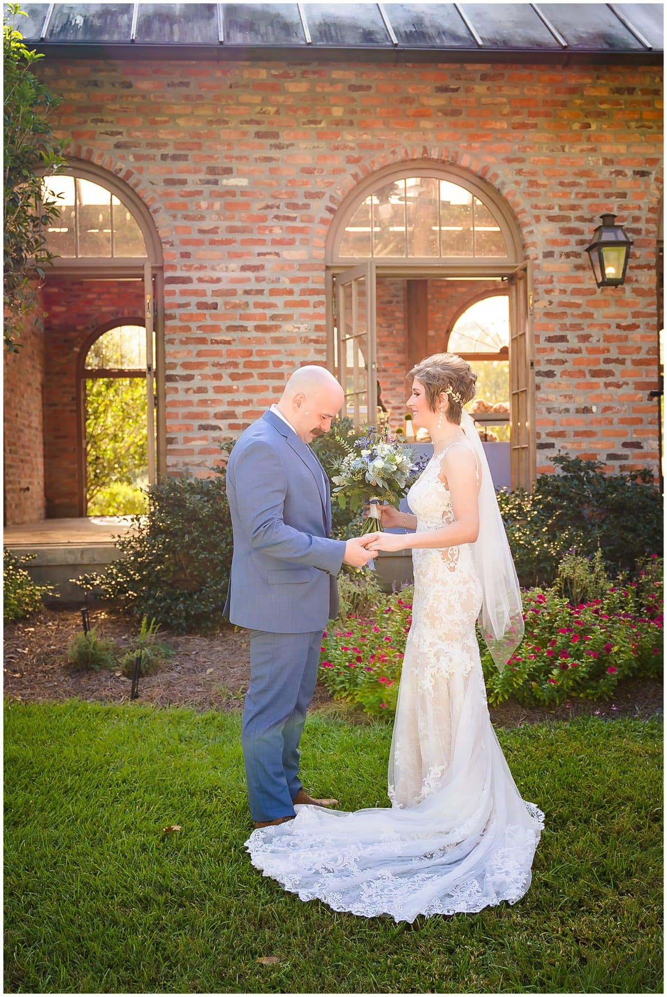 groom's first look with bride Orangerie wedding in Baton Rouge