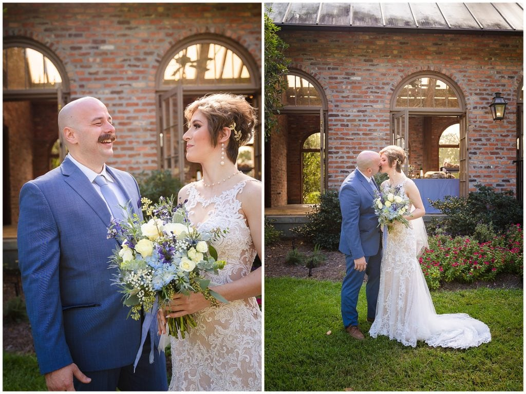 groom and bride laughing and kissing Orangerie wedding in Baton Rouge