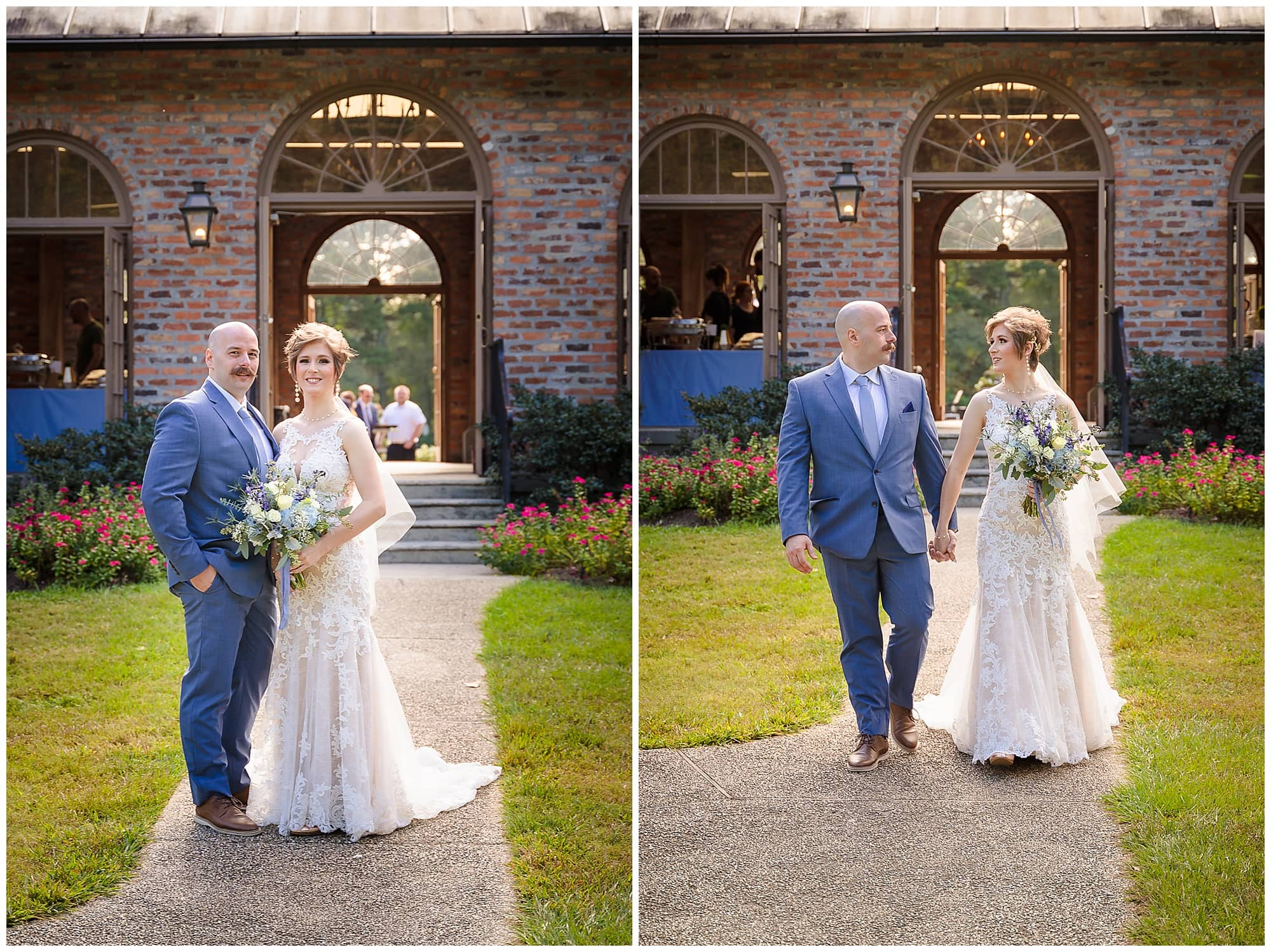 groom and bride kissing and walking Orangerie wedding in Baton Rouge