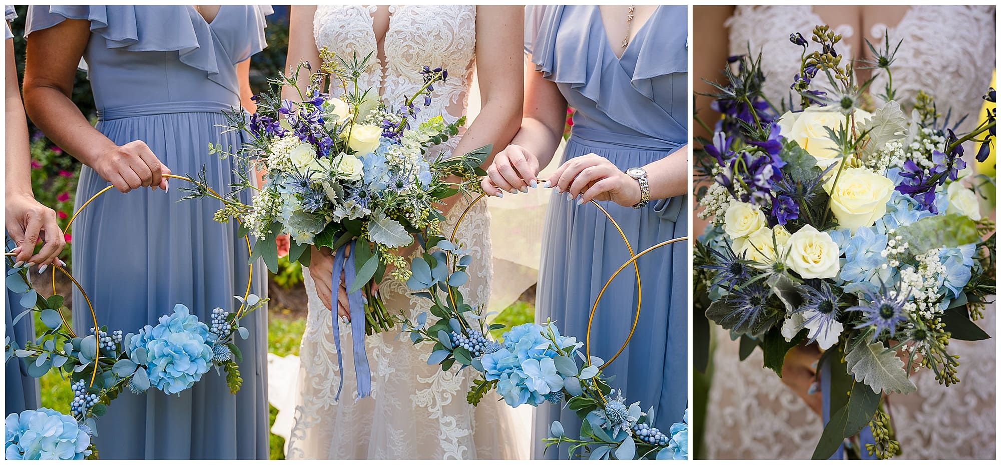 bride and bridesmaids hoop bouquets Orangerie wedding in Baton Rouge