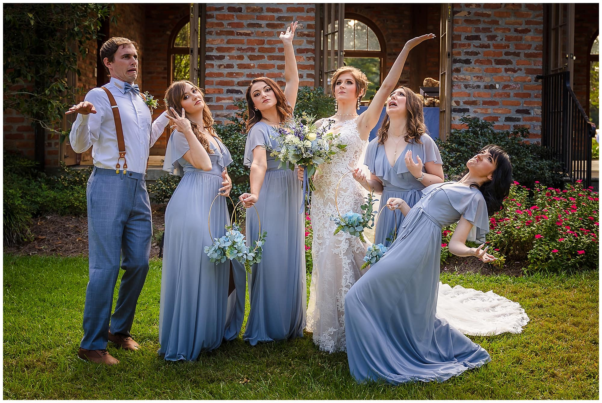 bridal party acting silly Orangerie wedding in Baton Rouge