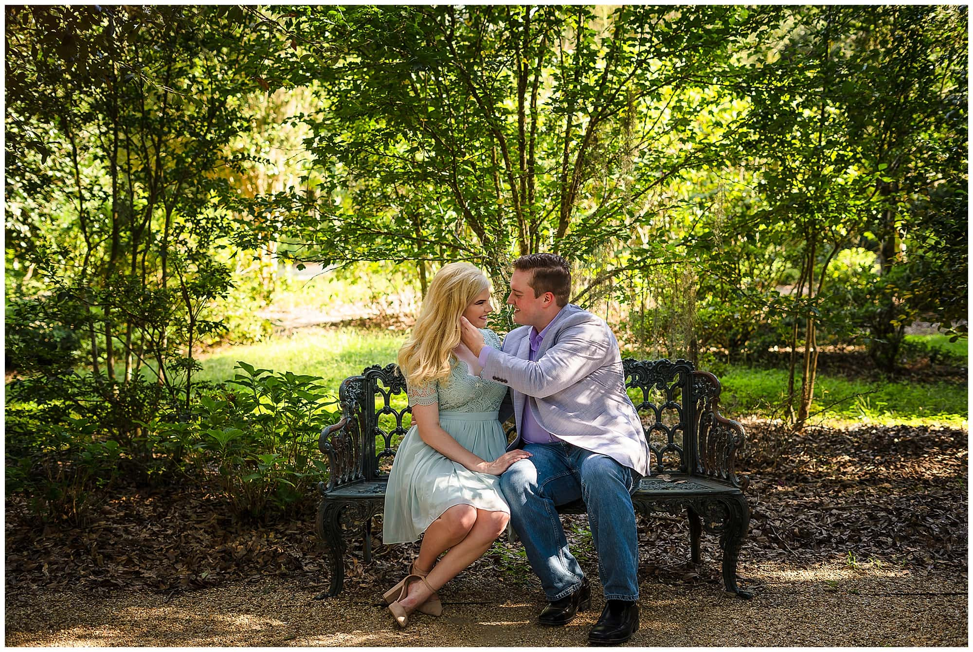 couple sitting on bench at Rosedown Plantation