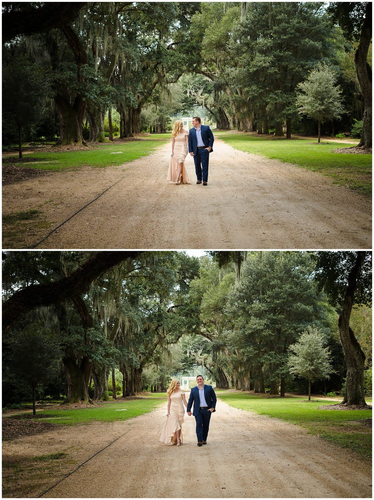 couple holding hands and walking at Rosedown Plantation