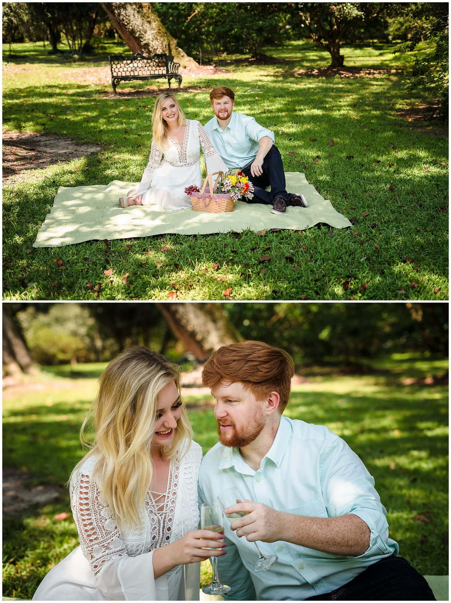 couple sitting with a picnic at Rosedown Plantation