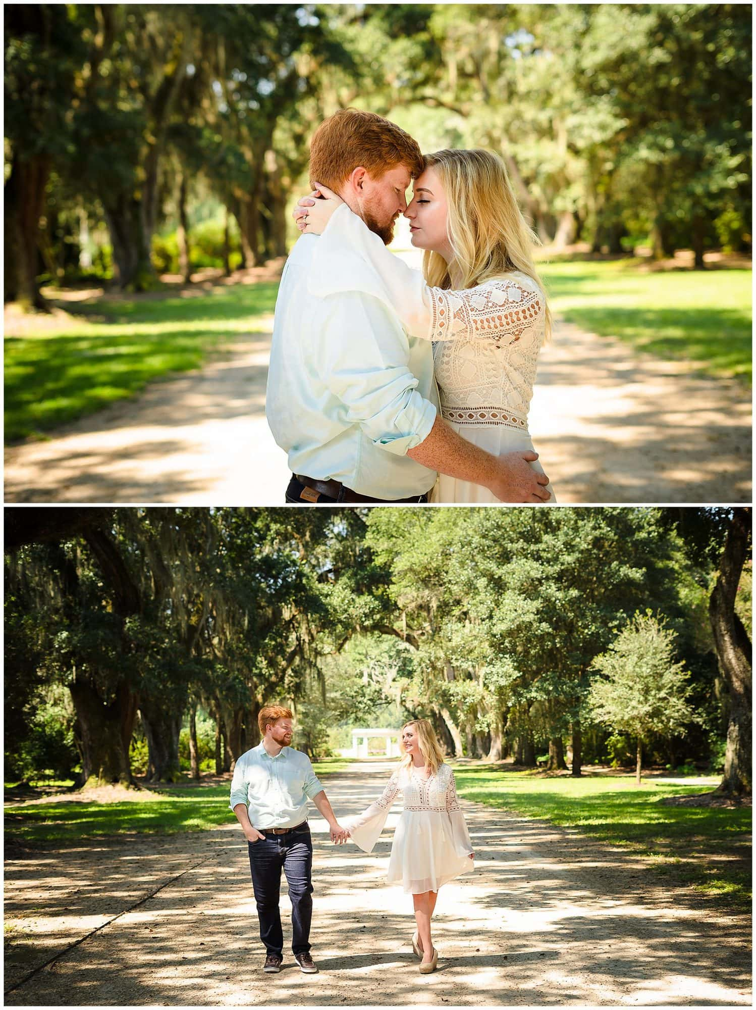 couple touching foheads and holding hands at Rosedown Plantation