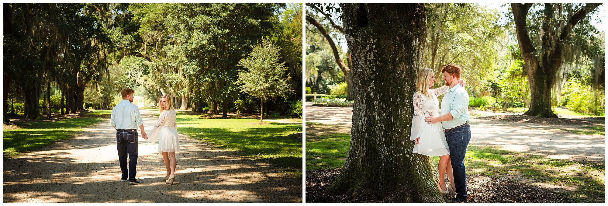 couple holding each other and walking at Rosedown Plantation