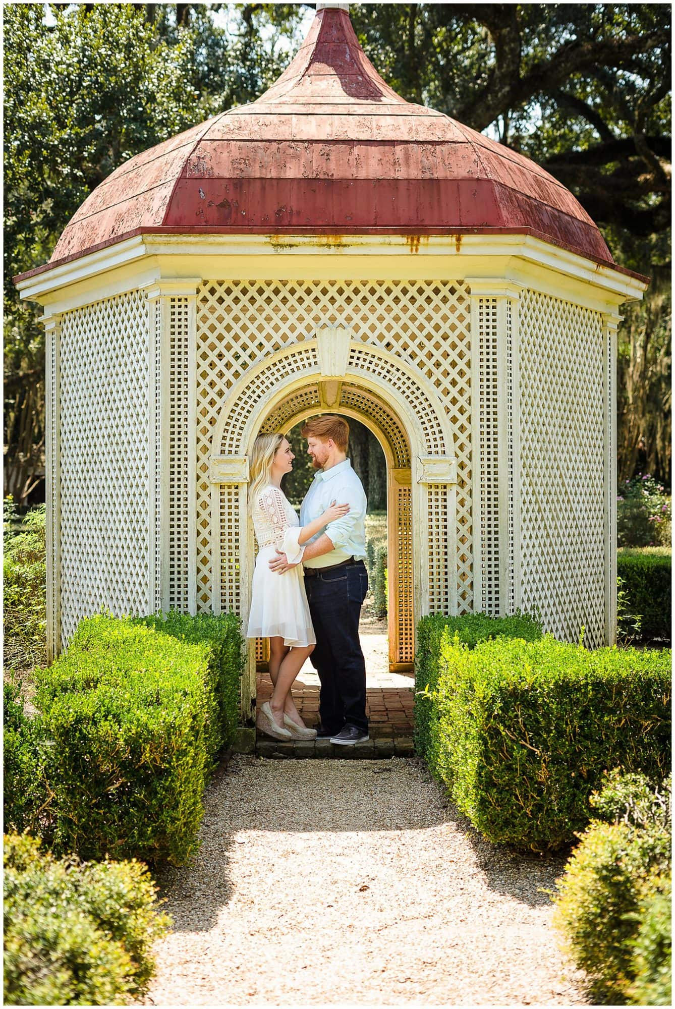 couple standing in a gazebo at Rosedown Plantation