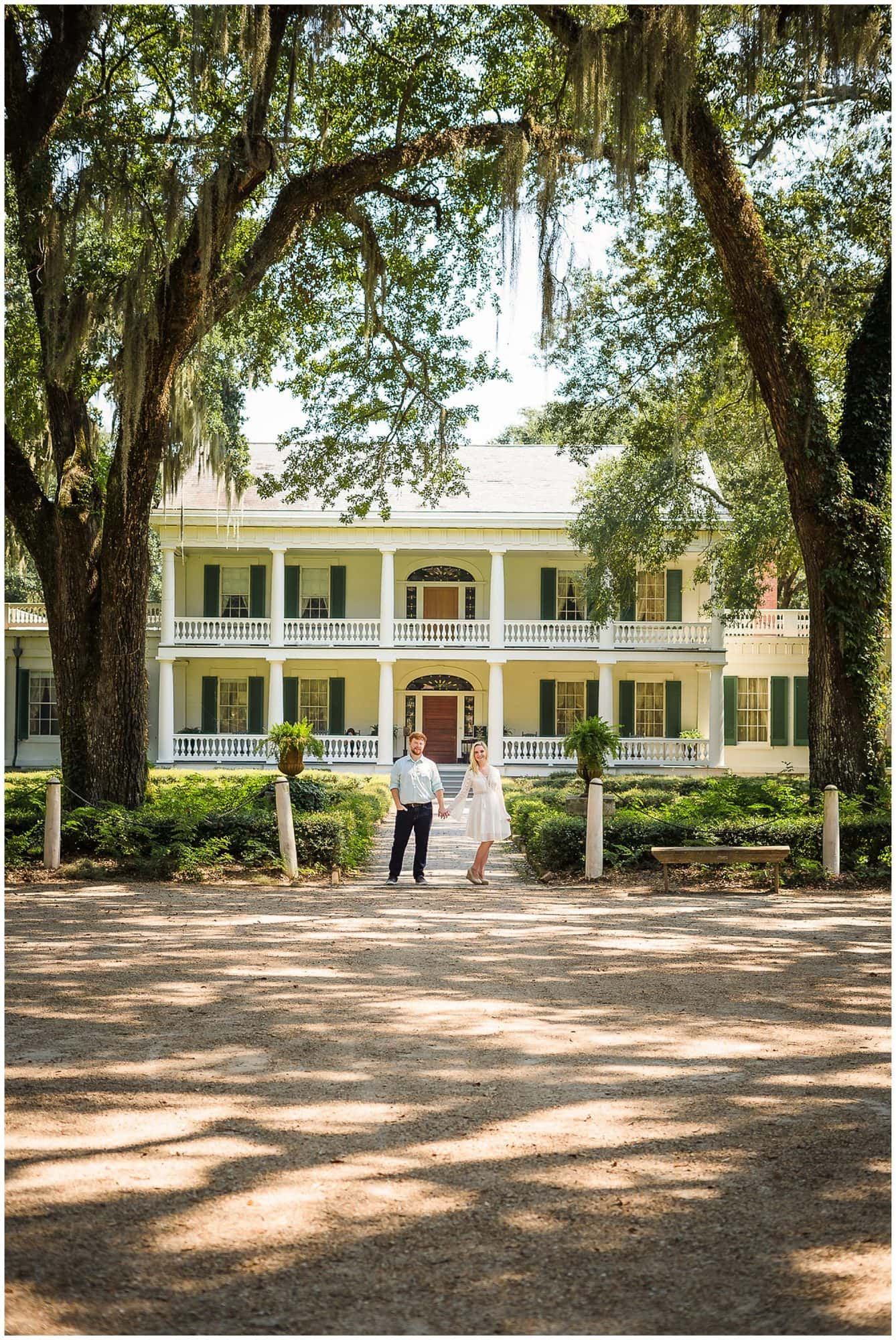 couple standing in from of house at Rosedown Plantation