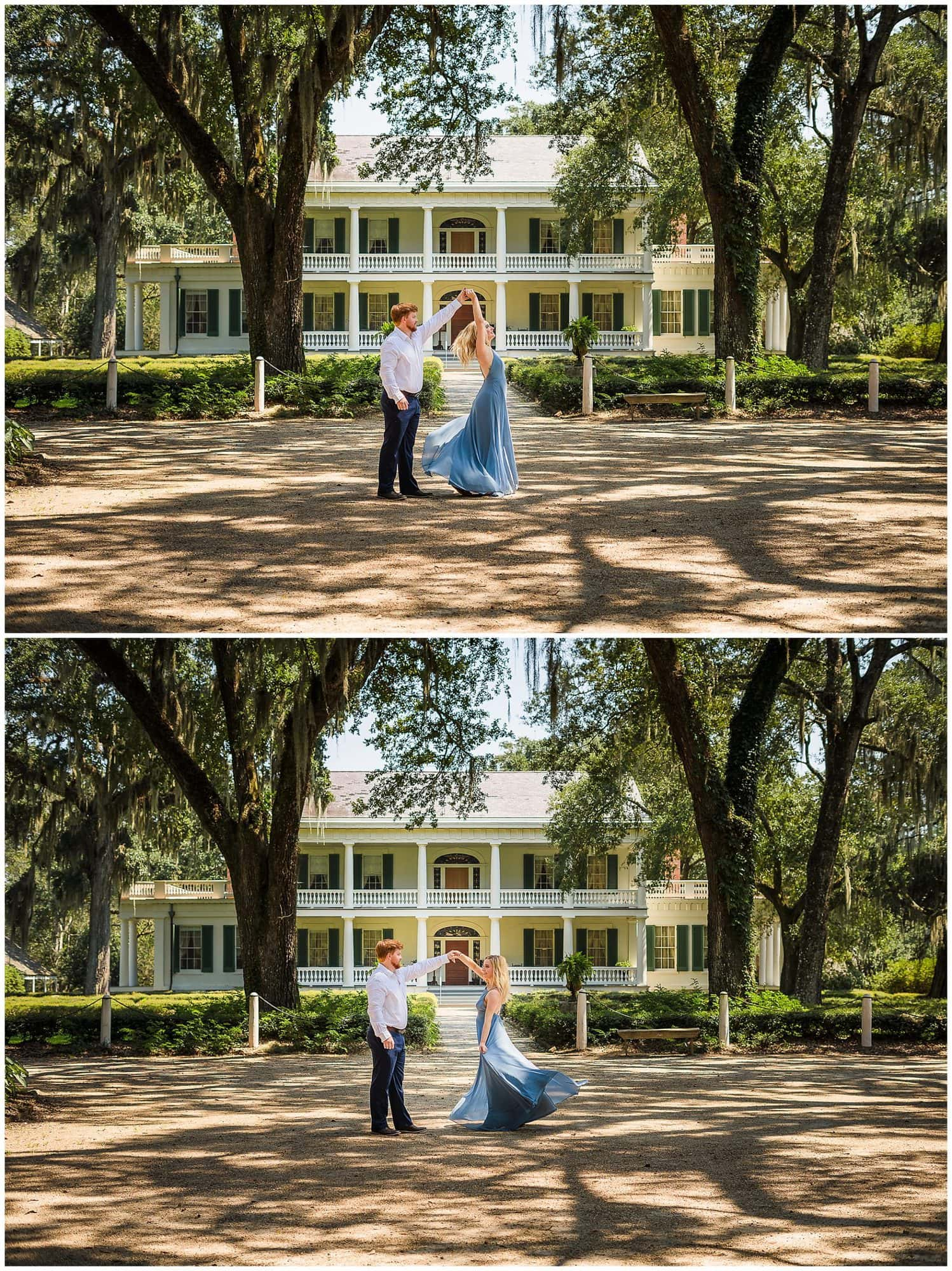 couple twirling at Rosedown Plantation