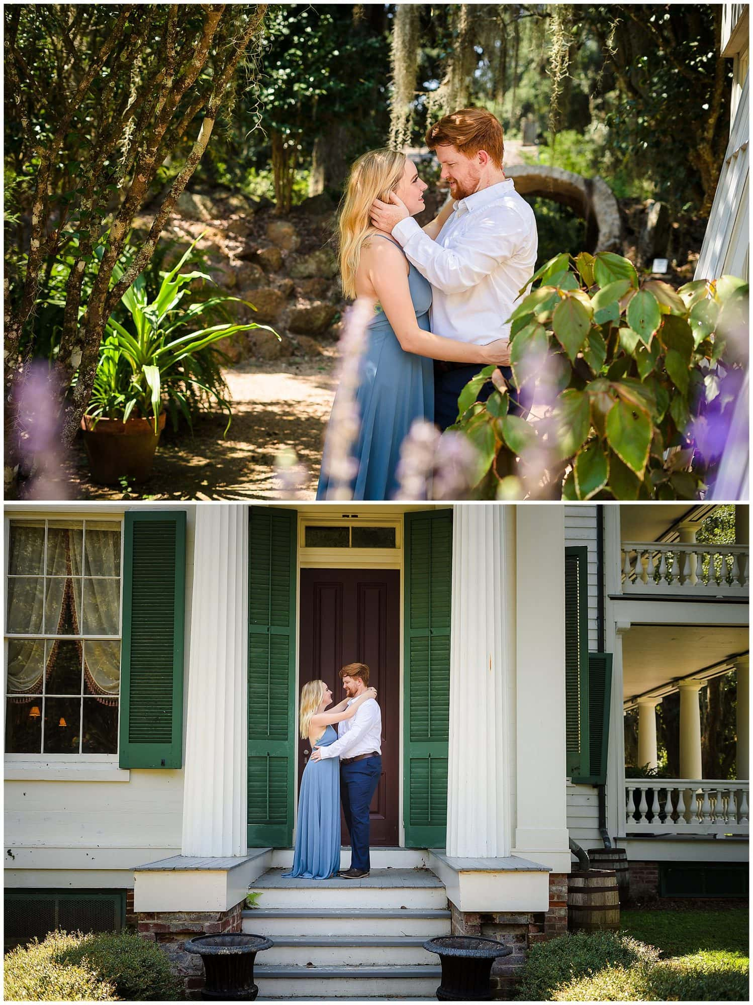 couple holding each other at Rosedown Plantation