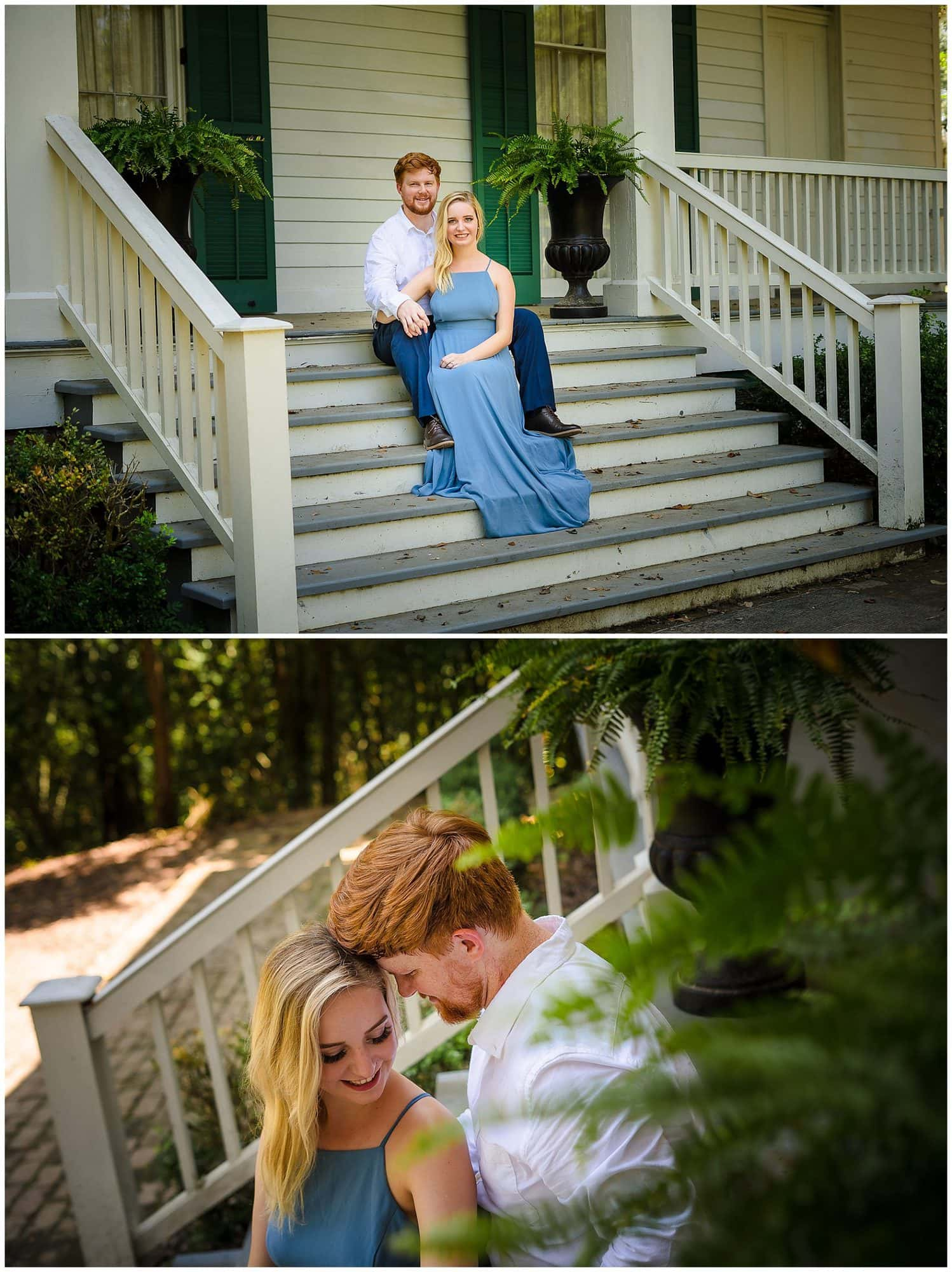 couple sitting on stairs at Rosedown Plantation